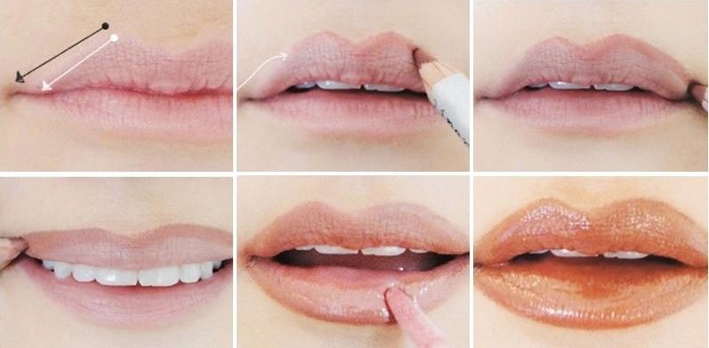 Как сделать губы больше с помощью карандаша?
