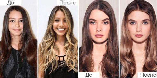 Фото до и после контуринга волос