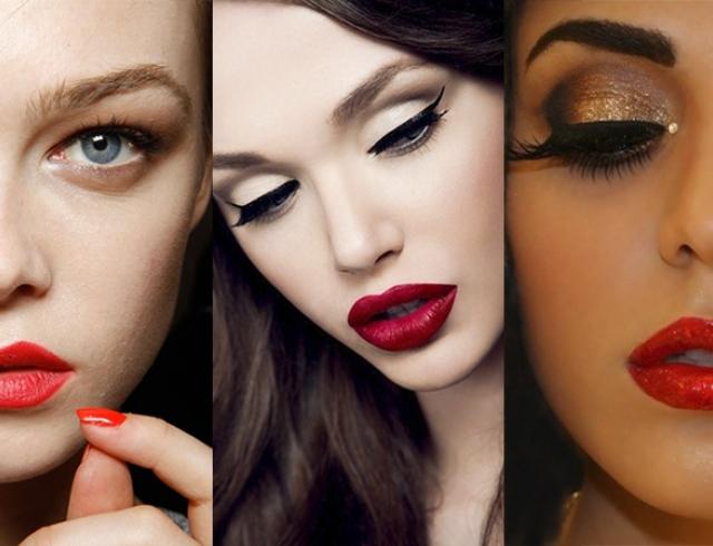 Подборка фотографий с макияжем из красной помады